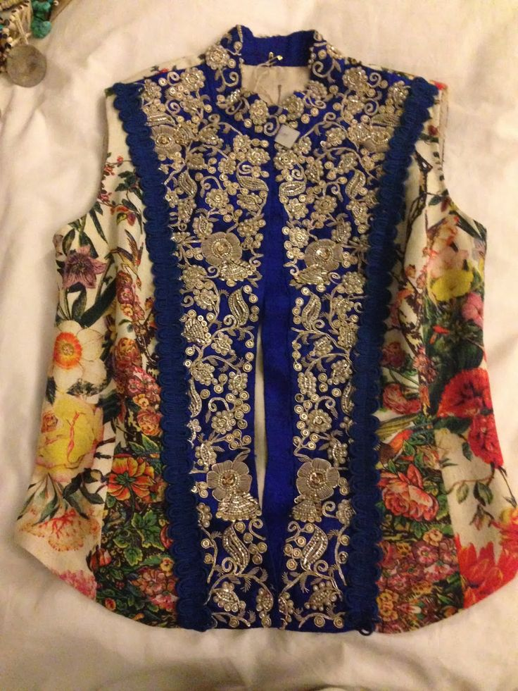 Beautiful Anarkali Jacket with Floral print panels! By Hanadi Merchant Habib