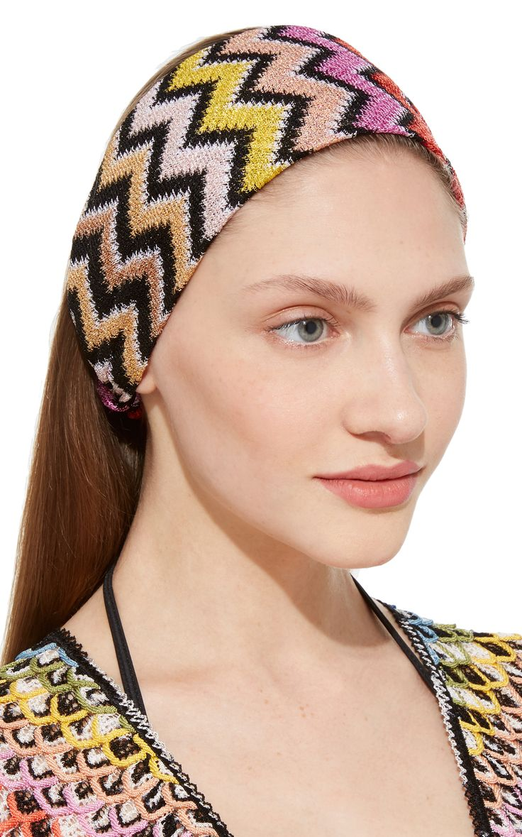 Click Product to Zoom Missoni Mare Crochet-Knit Headband €198 Missoni Mare's headband is made using the Italian label's crochet-knit technique. Rendered in a kaleidoscope of hues, this style has a partially elasticated band for a secure fit. Product Details      Elasticated back panel     Composition: 100% viscose     Made in Italy