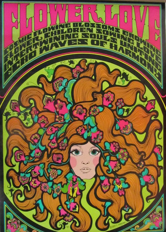 Flower Love  Original 1967 Vintage Poster by JamesPrestonVintage, $225.00