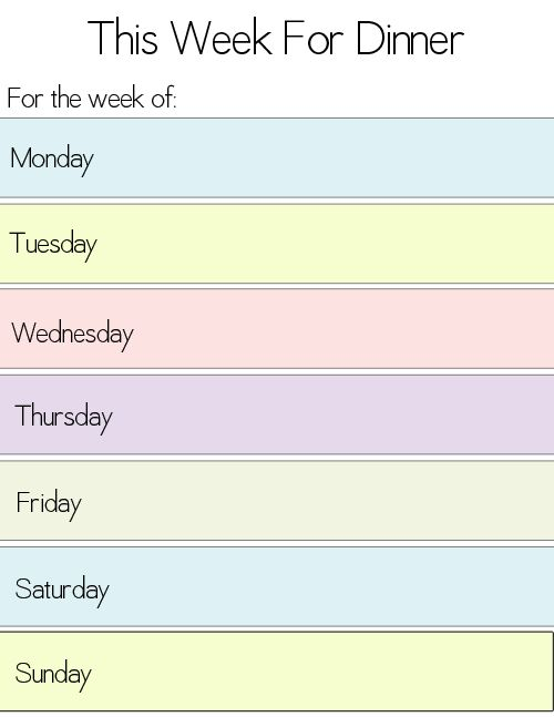 weekly food plan template
