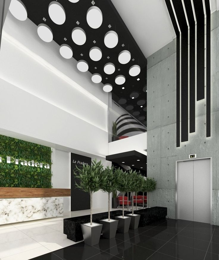 Diseño interior moderno contemporaneo lobby edificio de oficinas.