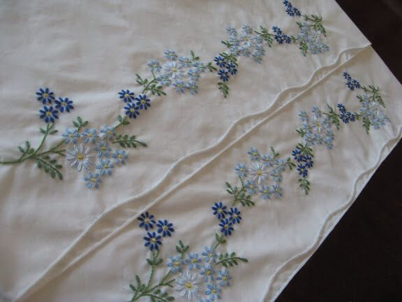 blue flowers embroidered pillowcases DMC cotton perle no. 8 white 3347 & 81 best my embroidery images on Pinterest | Embroidered ... pillowsntoast.com