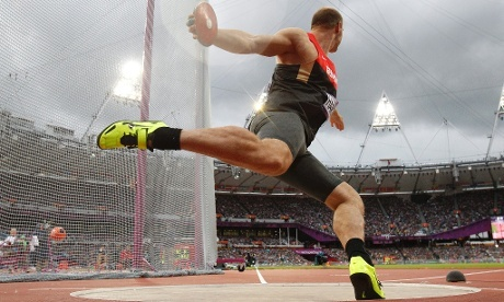 Robert Harting of Germany competes in the men's Discus Throw final