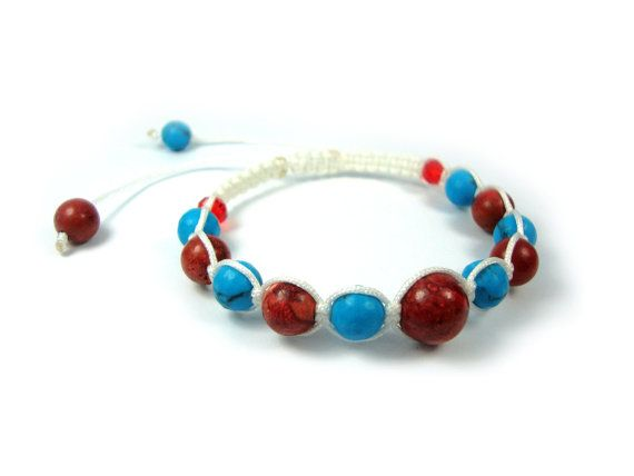 FREE SHIPPING Handmade Macrame Shamballa Greek Bracelet, Adjustable Bracelet , Coral - Turquoise Natural Stones Hand Braided on Etsy, 25,00 €