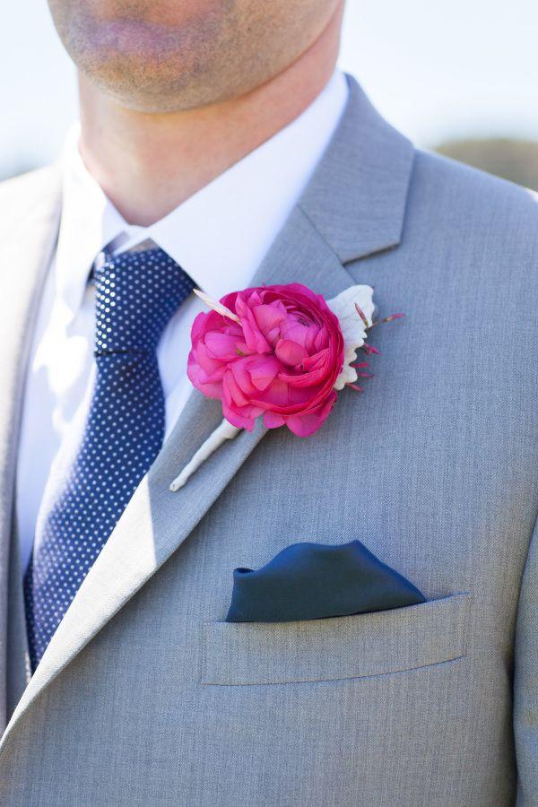Gray with a pop of pink! http://www.stylemepretty.com/california-weddings/san-francisco/2017/01/03/classic-san-francisco-stunner/ Photography: Janae Shields - http://janaeshields.com/