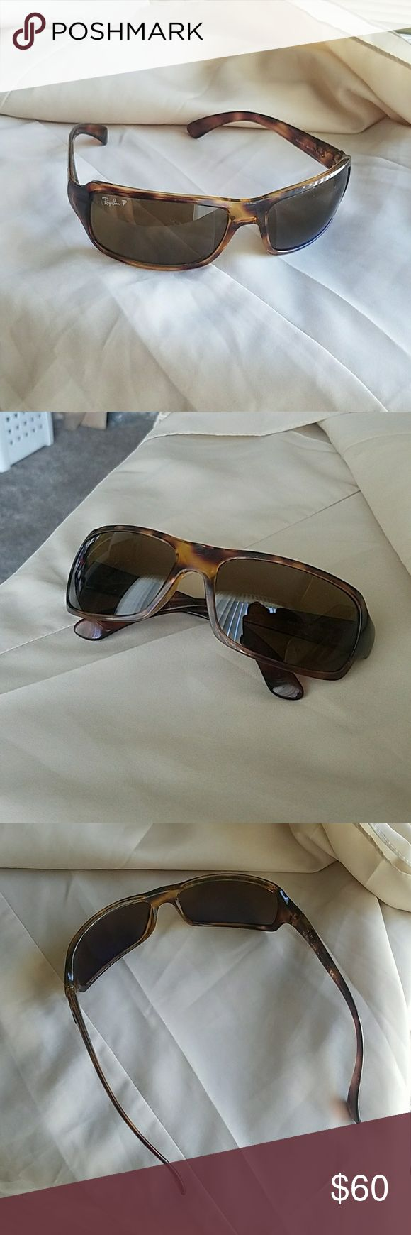 Ray Ban sunglasses Polarized Italy made Authentic Authentic Ray Ban P sunglasses Sporty Style RB4075 Made in Italy Tortoise shell frame  P for Polarized (blocks glare from reflected light too) The inside of lens has a cool bluish tint (doesn't look blue when you look through them though)  Scratch on right lens shown in last photo & scuffing on bridge of nose shown in second to last photo Ray-Ban Accessories Sunglasses
