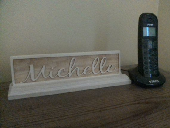 Personalized engraved wooden name plate for office  school or
