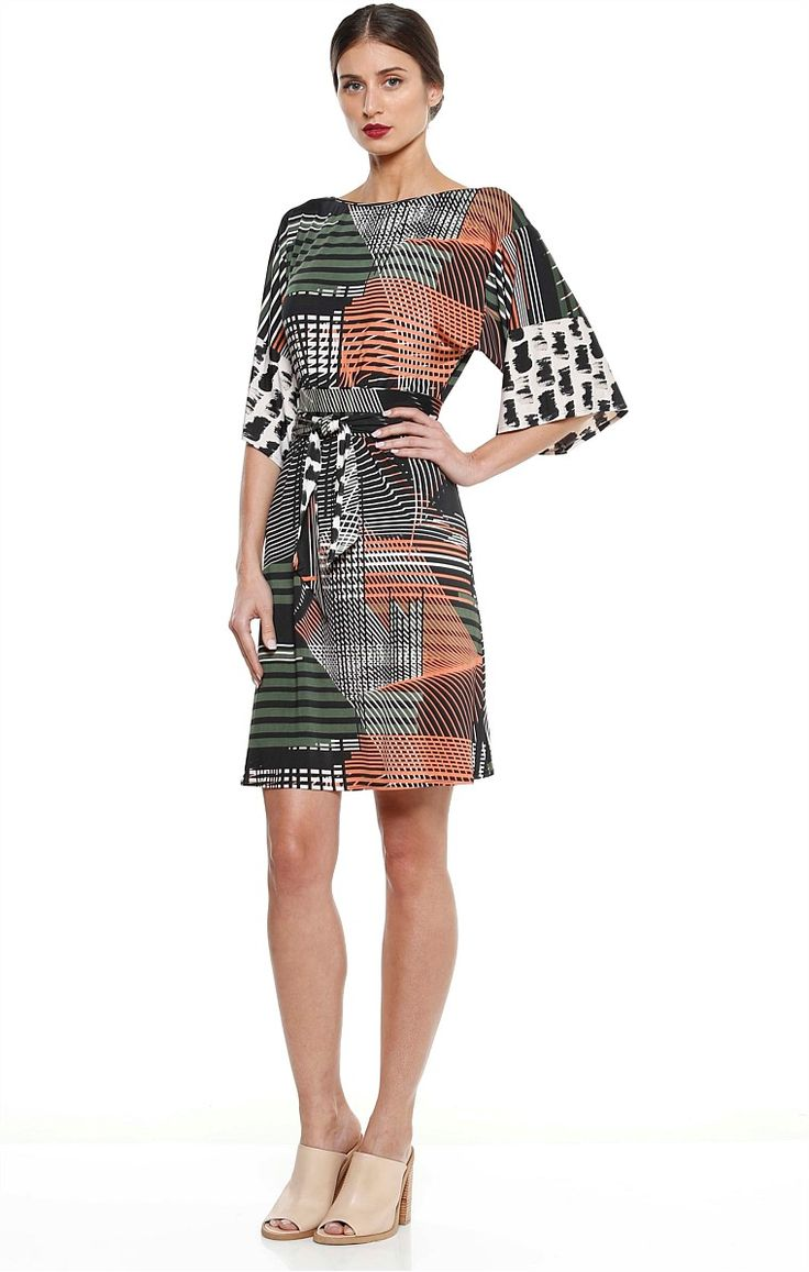 ELENORA REVERSIBLE STRETCH JERSEY PRINTED KIMONO DRESS