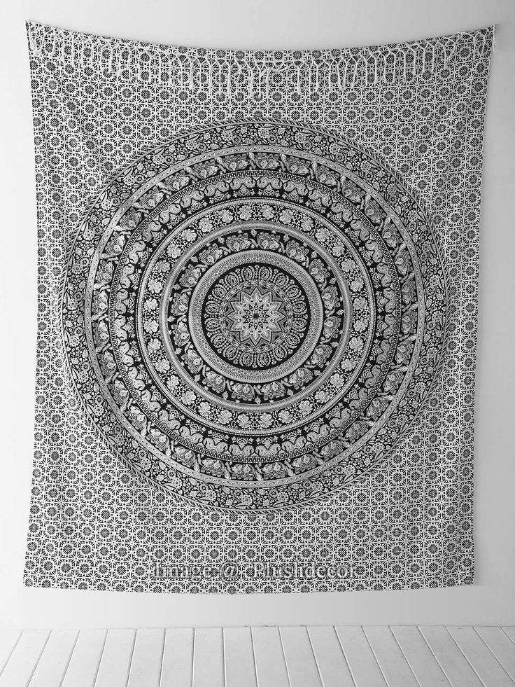 Amazon.com - Black and White Tapestries Elephant Mandala Hippie Tapestry Indian Traditional Throw Beach Throw Wall Art College Dorm Bohemian Wall Hanging Boho Queen Bedspread -