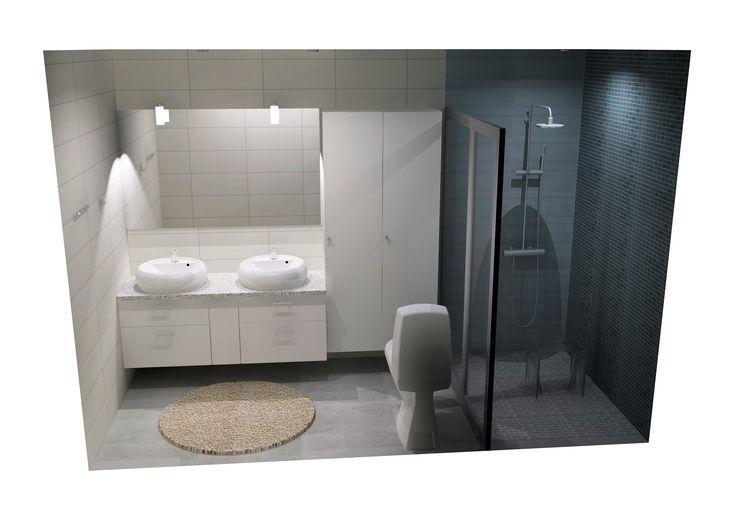 Kylpyhuonesuunnitelma Quartz Stone.  Kylpyhuone harmoonisen ja pelkistetyn tyylin ystäville. Muistathan että myös remontoitavien kylpyhuoneitten suunnittelupalvelu ja toteutus onnistuu K-raudan kautta. www.k-rauta.fi