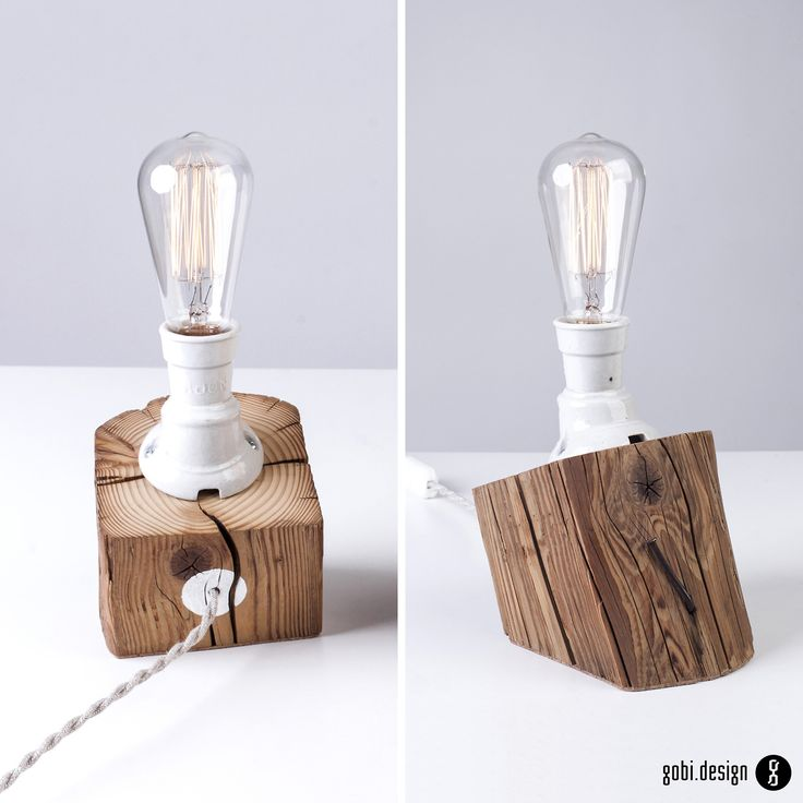 Repurposed barn beam wood table lamp, with old porcelain socket.