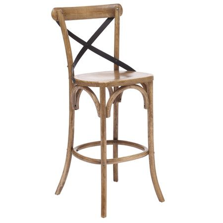 Wood stool with a curved x-shaped back.     Product: BarstoolConstruction Material: Solid woodColor:...