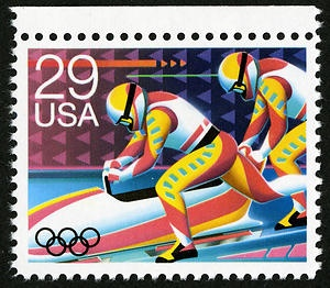"The Winter Olympics Issue in 1992 included this boblsedding stamp. The following year, classic 90s film ""Cool Runnings"" brought boblsedding into pop culture with a story based on the first Jamaican bobsledding team trying to make it to the winter Olympics."