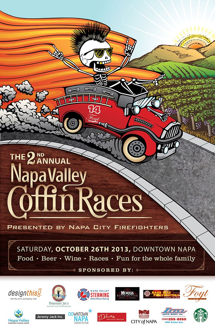 Napa County Firefighters Association   Illustration for 2nd Annual Napa Valley Coffin Races poster   by designthis!