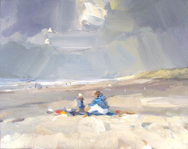 Seascape winter #30 First Spring visitors on the beach (with towels!), 24x30 cm Roos Schuring 2012 Zeegezicht http://roosschuring.blogspot.com/
