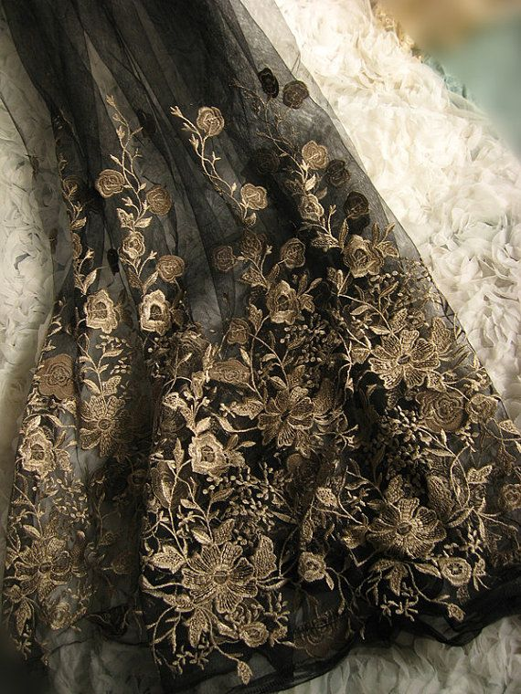 Black Embroidered Lace Gauze Fabric Retro Gold Florals by LaceFun, $33.00