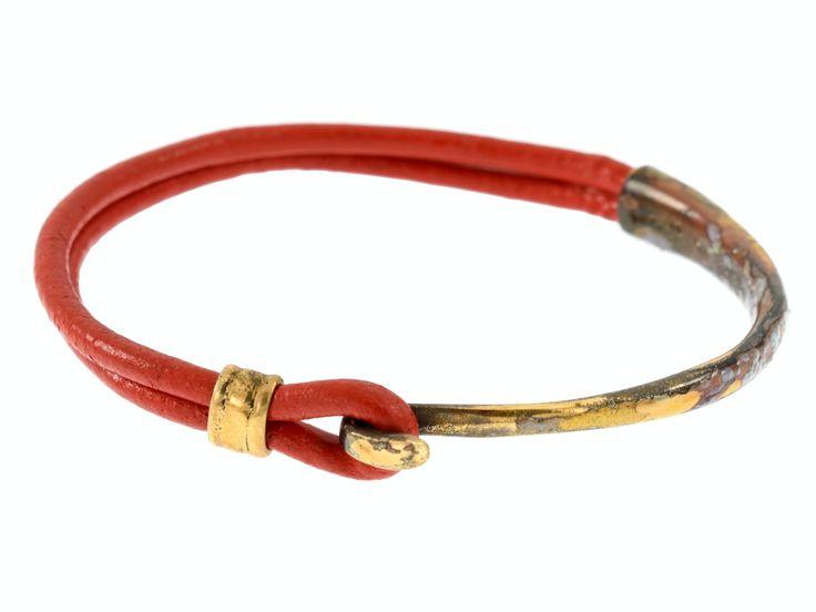 Crescent Moon Bracelet - Gold & Ruby Red