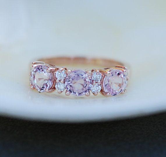 Lavender Peach sapphire anniversary ring  3 stone ring 14k rose gold diamond ring by Eidelprecious.