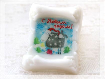 """Мыло Свиток """"С новым годом!"""" - с символом нового 2015 года. Рисунок нанесен на спец. водорастворимую бумагу."""