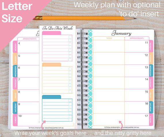 US LETTER 2015-2016 pro Planner - Sorbet Design - Zielplaner jährlichen, monatlichen Kalender - täglichen Zeitplan, Menü-Plan-Einkaufen-Download