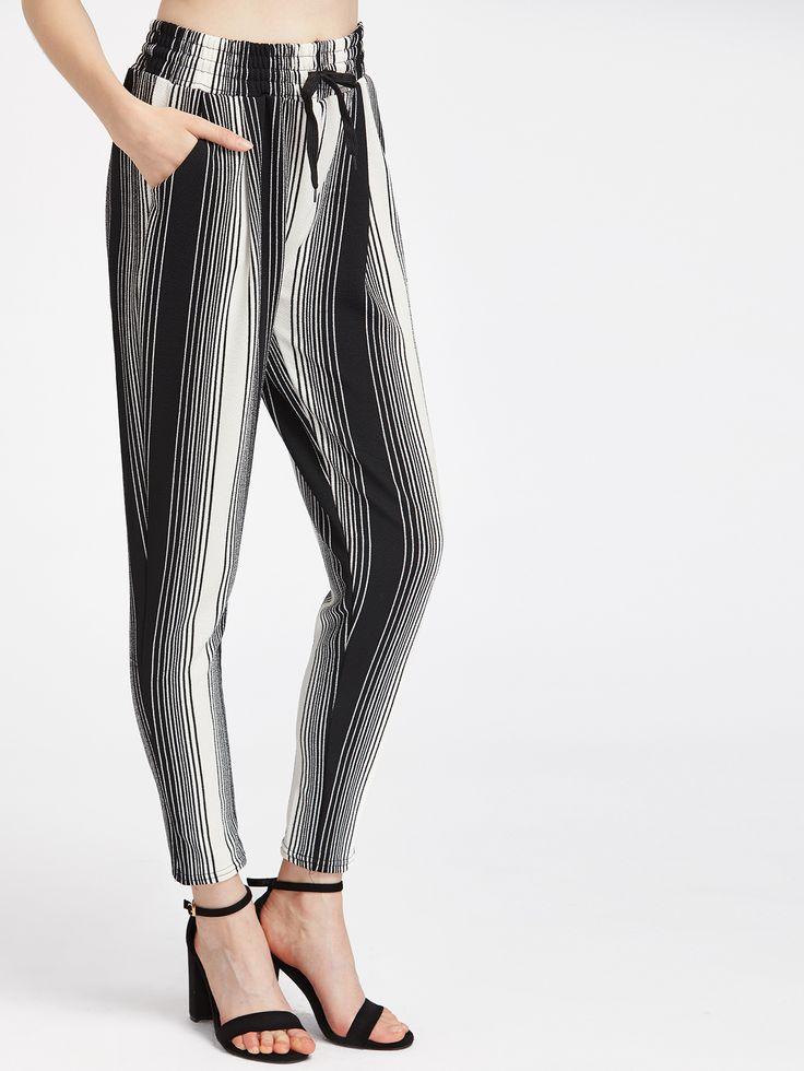 Shop Pinstripe Drawstring Waist Peg Leg Pants online. SheIn offers Pinstripe Drawstring Waist Peg Leg Pants & more to fit your fashionable needs.