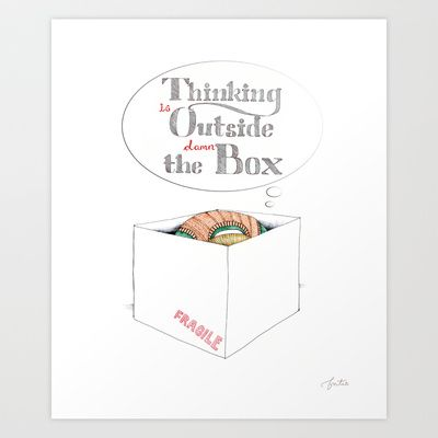 Thinking Outside the Box Art Print by fortes - illustrations - $15.00