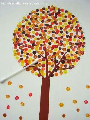 Herbst Baum Wattestäbchen