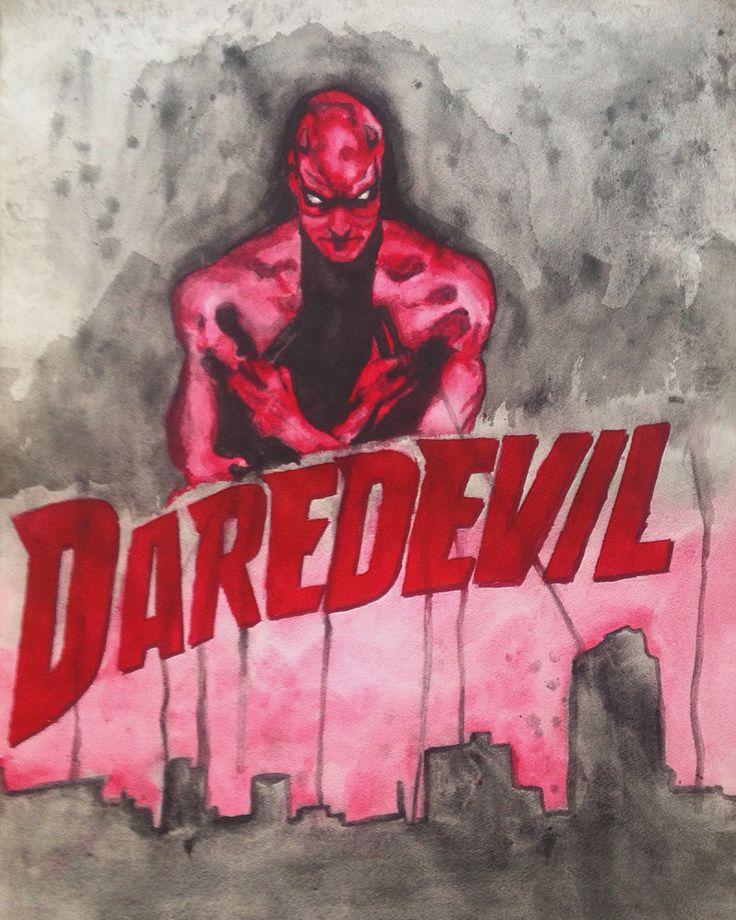 Daredevil watercolor marvel