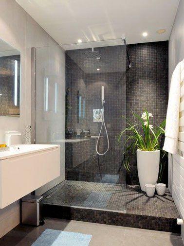Douche italienne en carrelage noir dans salle de bain design