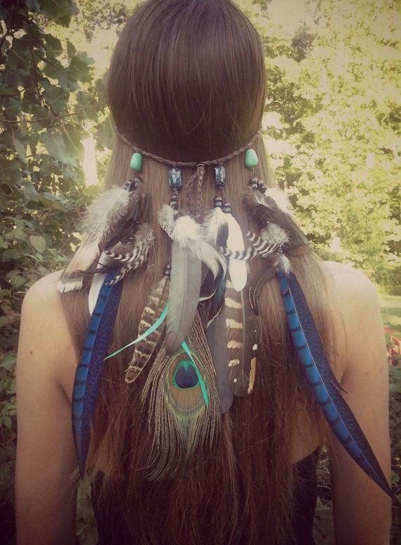 Sapphire Princess - Feather headband native american style indian hippie headband bohemian headband feather headpiece peacock