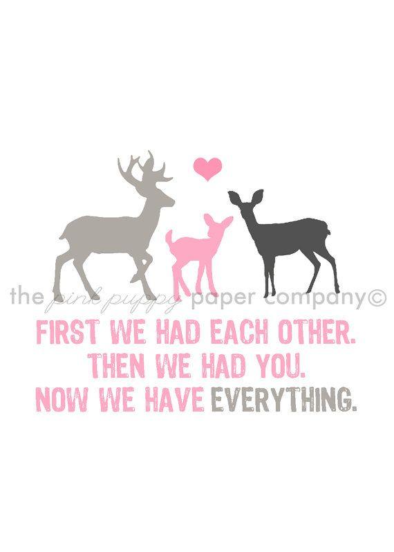Now We Have Everything 5x7 Deer Family Print door pinkpuppypaperco