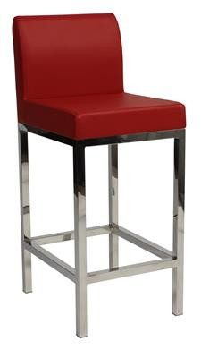 """Laverton"" Stainless Steel Square Frame Padded Bar Stool in Red - AU$169 - https://www.simplybarstools.com.au/products/laverton-stainless-steel-square-frame-padded-bar-stool-in-red – Simply Bar Stools - steel, padded, fixed leg, bar stools. #Australia #Furniture"