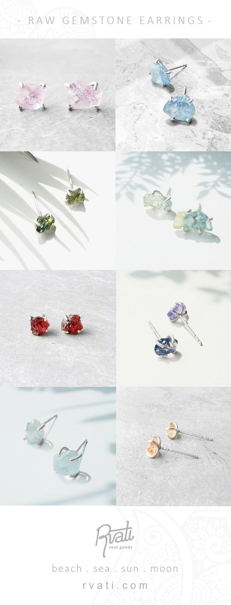 Raw Sapphire Gemstone Stud Earrings with Sterling Silver - 4 Prong Set Studs - Rough Gemstone Earring - Heritage Chic Jewelry - Gift Idea for giving - BOHO - Jewelry Yoga - Zodiac Stone of Taurus