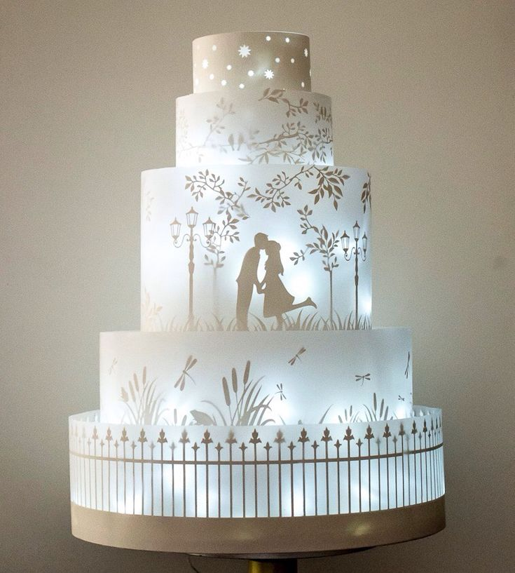 One of the newest trends in cakes, holograms projected onto your cake, sometimes they even move. They are so beautiful and just are the perfect way to tie in your story even more. I think this works better however, on larger cakes