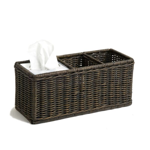 WICKER DIVIDED ORGANIZATION BASKET - This practical bathroom storage basket features rattan woven over a metal frame for maximum stability and versatility. Use it on the vanity or toilet to organize your daily beauty utensils or box up your cabinet clutter.