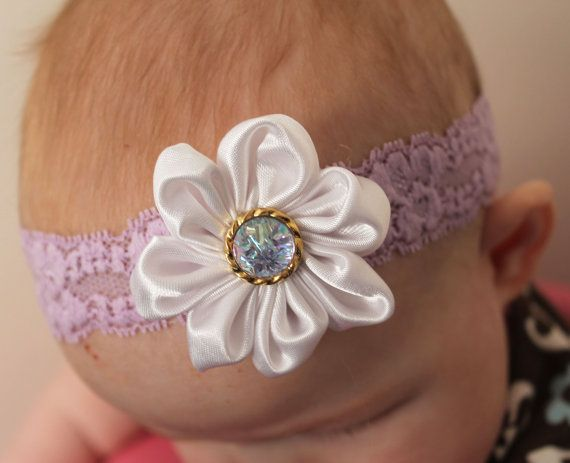 Purple and Ivory white flower baby headband... by ElianasCove, $13.00