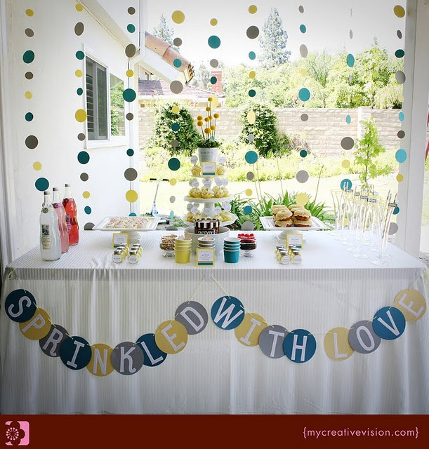 """I looove the """"Sprinkled with love"""" banner. Perfect for a baby sprinkle/shower."""