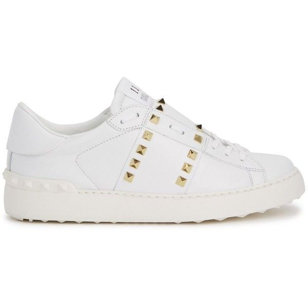 Valentino Rockstud Untitled 11 Leather Trainers - Size 6.5 (£500) ❤ liked on Polyvore featuring shoes, sneakers, white leather shoes, valentino trainers, studded shoes, lace up sneakers and lace up shoes