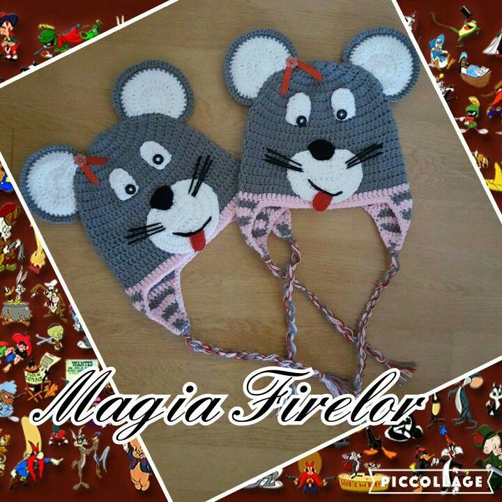 mouse hat crochet, caciula soricel