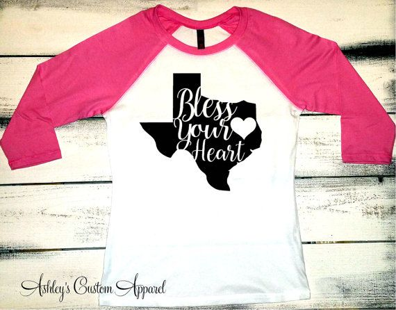 Bless Your Heart, Cute Southern Shirt, Texas Baseball Tee, Texas Shirts, Proud Texan, Womens Southern Tshirt, Country Shirts, From the South