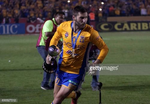 Tigres' Andre Pierre Gignac celebrates with the trophy... #aguilar: Tigres' Andre Pierre Gignac celebrates with the trophy after… #aguilar