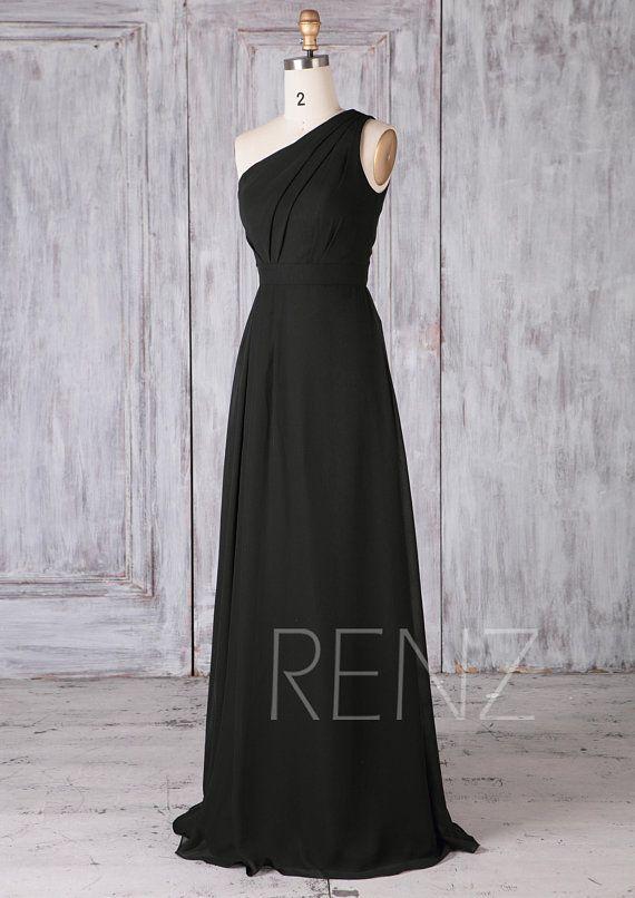 Bridesmaid Dress Black Chiffon Dress Wedding Dress One Etsy Black Bridesmaid Dresses Black Chiffon Dress Dresses