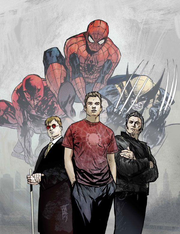 Matt Murdock, Peter Parker & James Howlett by Alex Maleev
