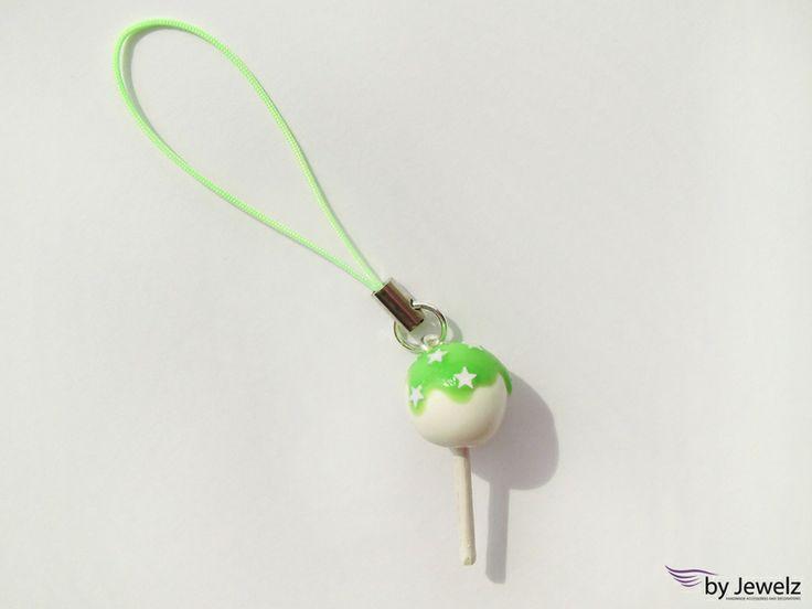 Cake Pop Handyanhänger - grün, Sterne, Sternchen von by Jewelz auf DaWanda.com: http://de.dawanda.com/product/47309454-Cake-Pop-Handyanhaenger---gruen-Sterne-Sternchen