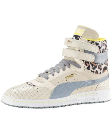 Women's Sky II Animal High Tops: Women's Sky II Animal High Tops: First introduced in 1980, the Sky is a classic PUMA basketball shoe. This women's Sky II Animal is a fresh take from PUMA's iconic Sky high tops family and revamped with feminine animal materials and a hook-and-loop strap for an optimum fit. The perfect addition to your active lifestyle, this shoe is known to take people's breath away, so be warned.Elegant leather and textile upper withperforations: Comfortable and breathable…