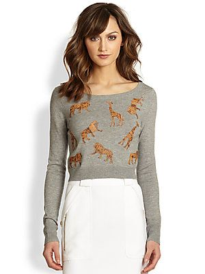 Spencer loves her animals! Diane von Furstenberg Praia Leather Animal Applique Sweater