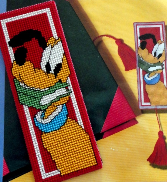 Plastic Canvas Bookmark Patterns | CROSS-STITCH PATTERNS / Bookmark Pluto embroidered on plastic canvas.