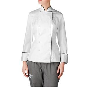 With its flattering fit and cut, this semi-cropped chef jacket is the one you'll reach for time and time again. Made of 100 percent Pima cotton, our Nouveaux chef coat for women is the best selling women's chef coat on our line. The addition of the black piping adds a tough of sophistication and personal style.The chef coat's cut makes it a first choice for women to complete their chef uniforms. $80.95