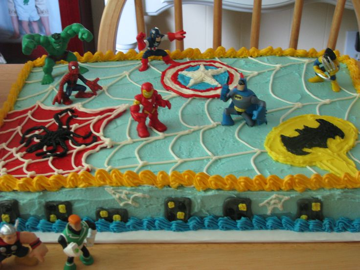 Super Hero Cake for Brayden - -yellow cake with black ( says brayden)