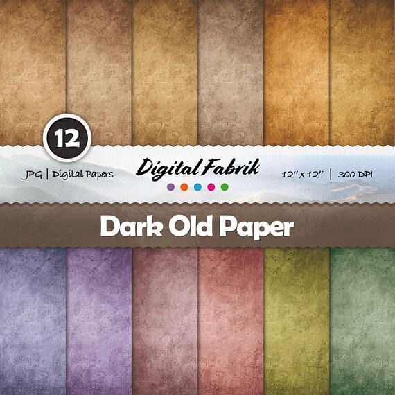 Old & rustic parchment scrapbook paper, 12 digital papers, digital paper pack, 12x12 jpg files, digital download, personal or commercial use